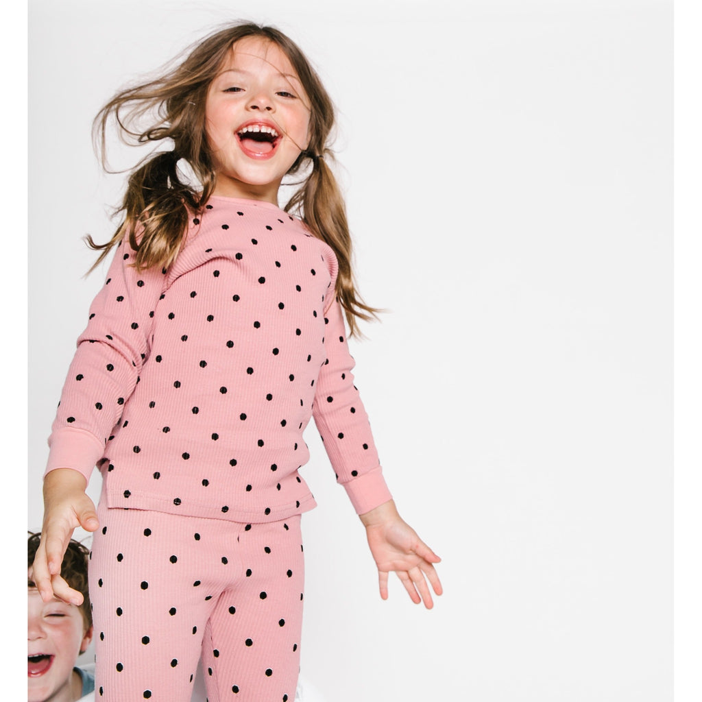 Tugg Blush Polka Dot Ribbed Pajama Set