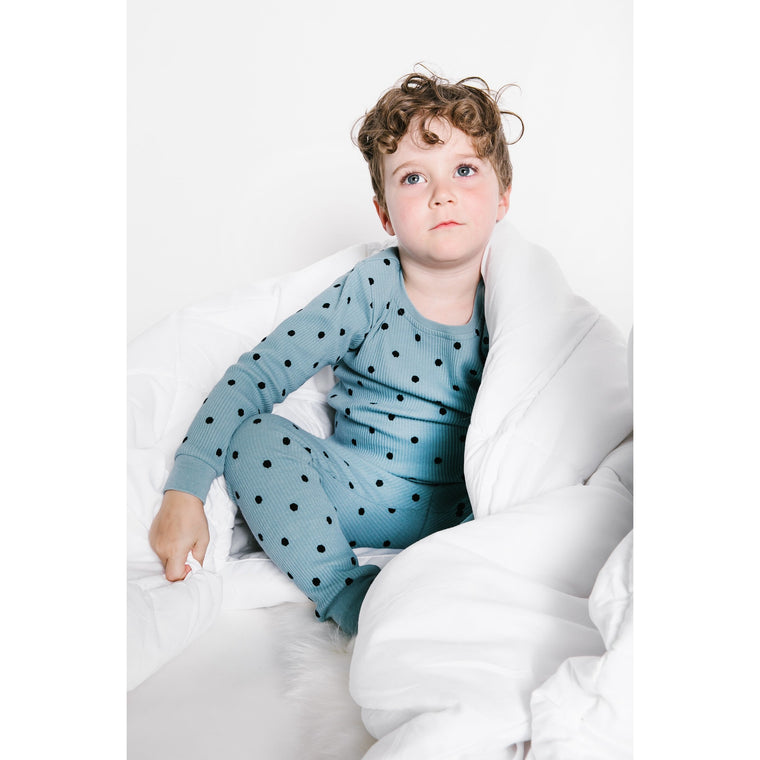 Tugg Sage Polka Dot Ribbed Pajama Set