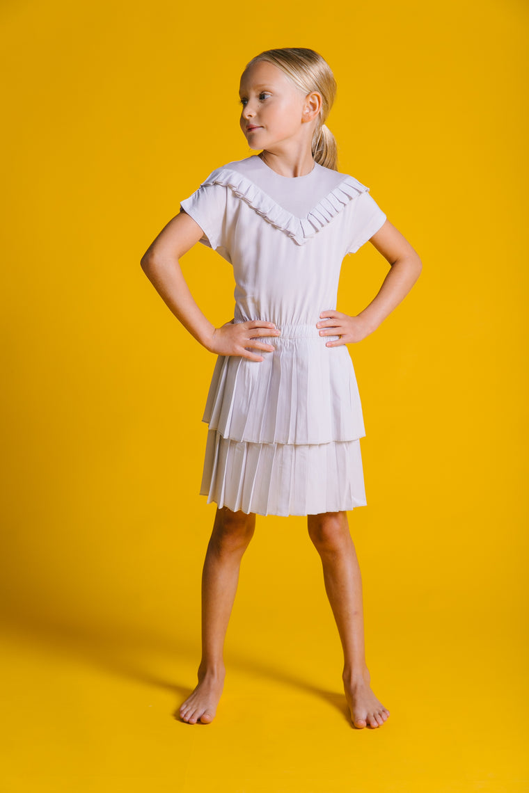 Kipp V-Cut Pleated Dress