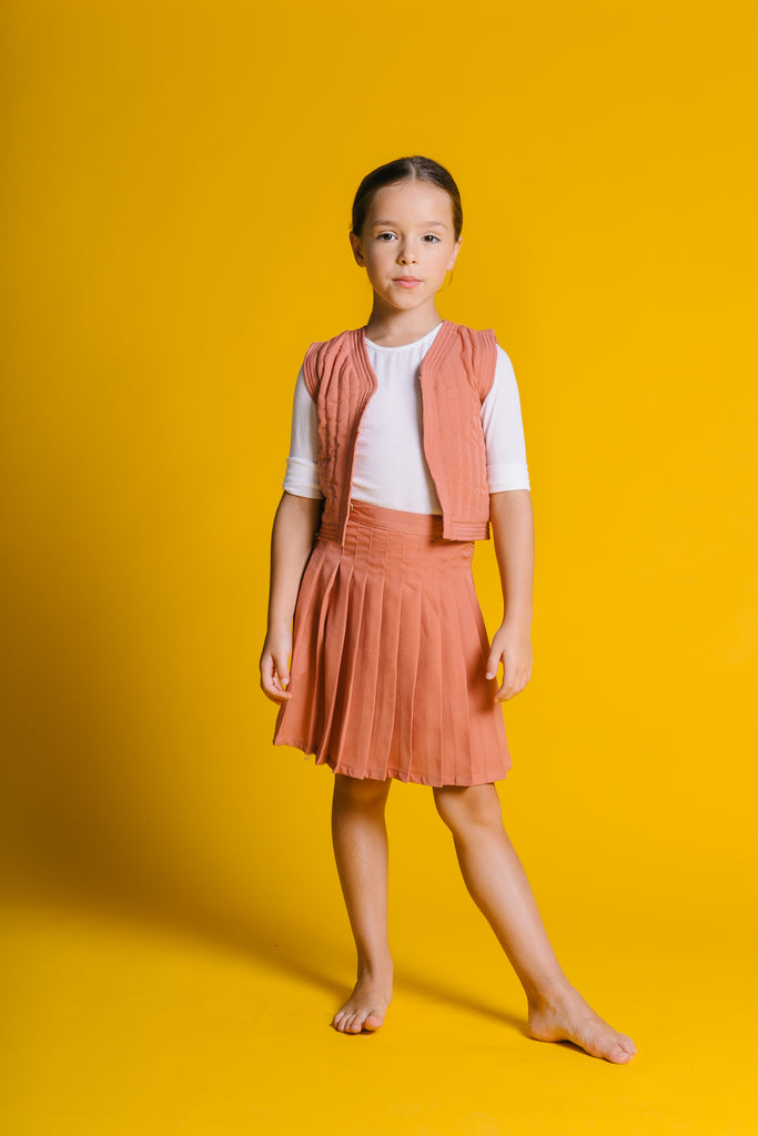 Kipp Grapefruit Pleated Skirt