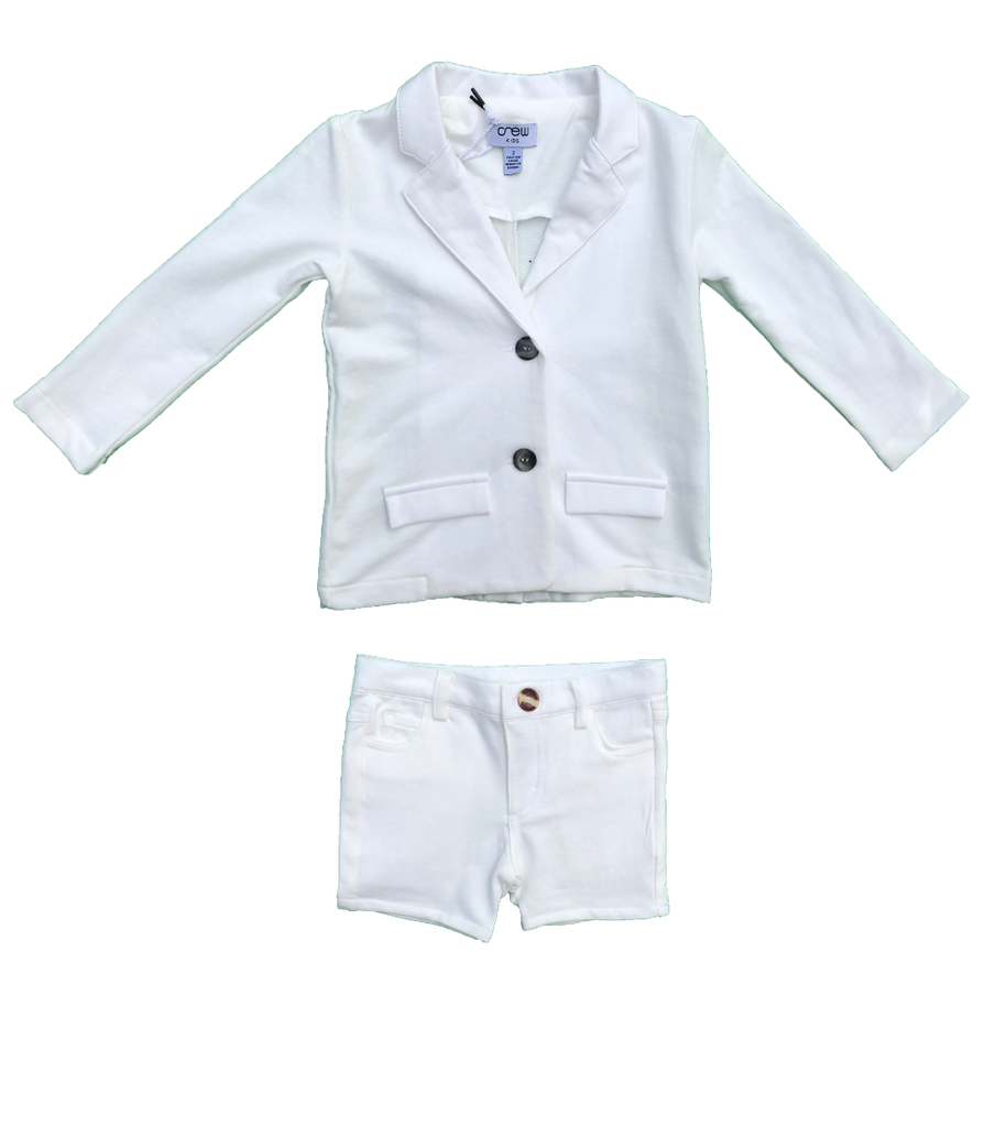 Crew White Knit Suit With Shorts