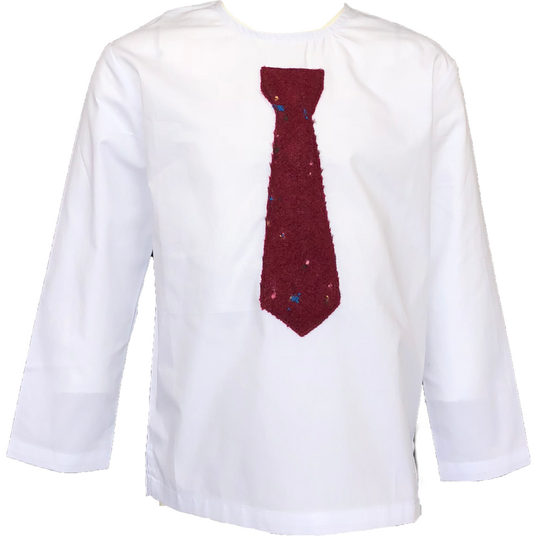 Crew White Shirt With Berry Necktie