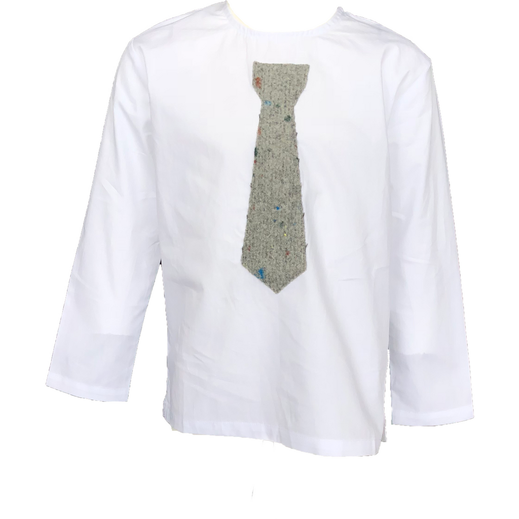 Crew White Shirt With Grey Necktie