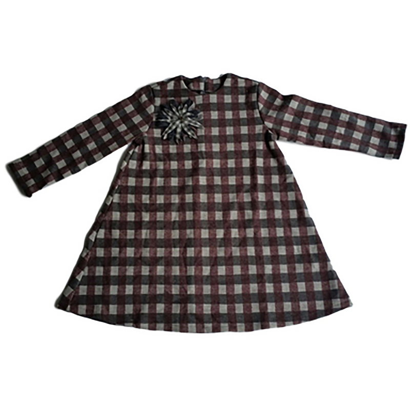 Cucu Lab Bordeaux & Grey Plaid Dress With Brooch
