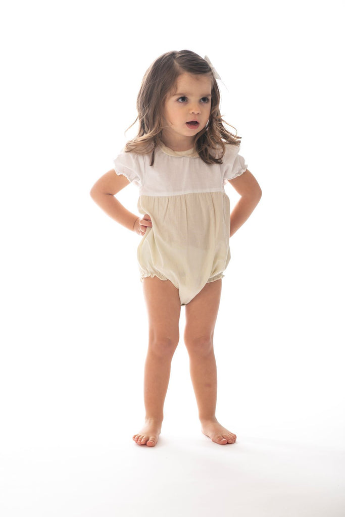 Petit Clair Cream/White Bubble Collared Romper