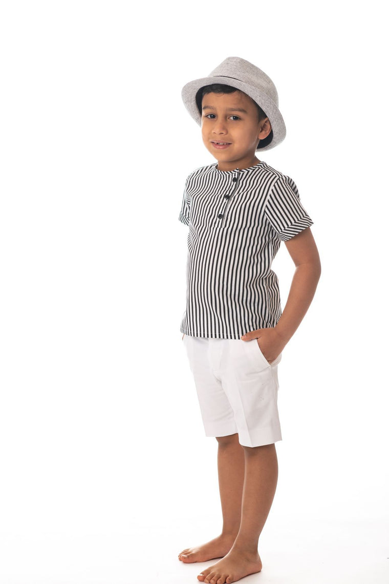 Petit Clair Black/White Striped Mandarin Shirt