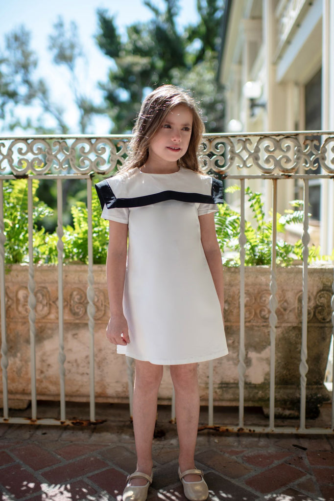 Petit Clair White Sailor Collar Dress