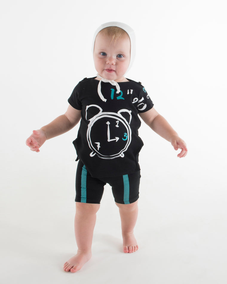 Teela Black Clock Baby Set