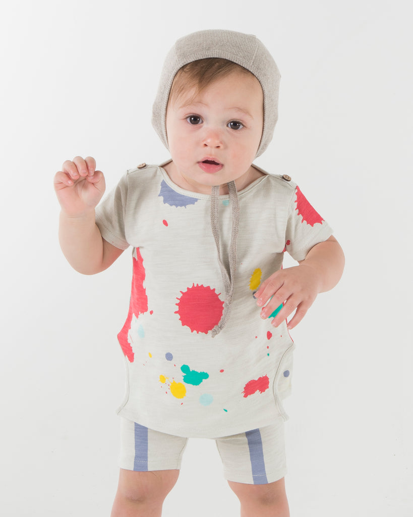 Teela Multi Colored Paint Splatter Baby Set