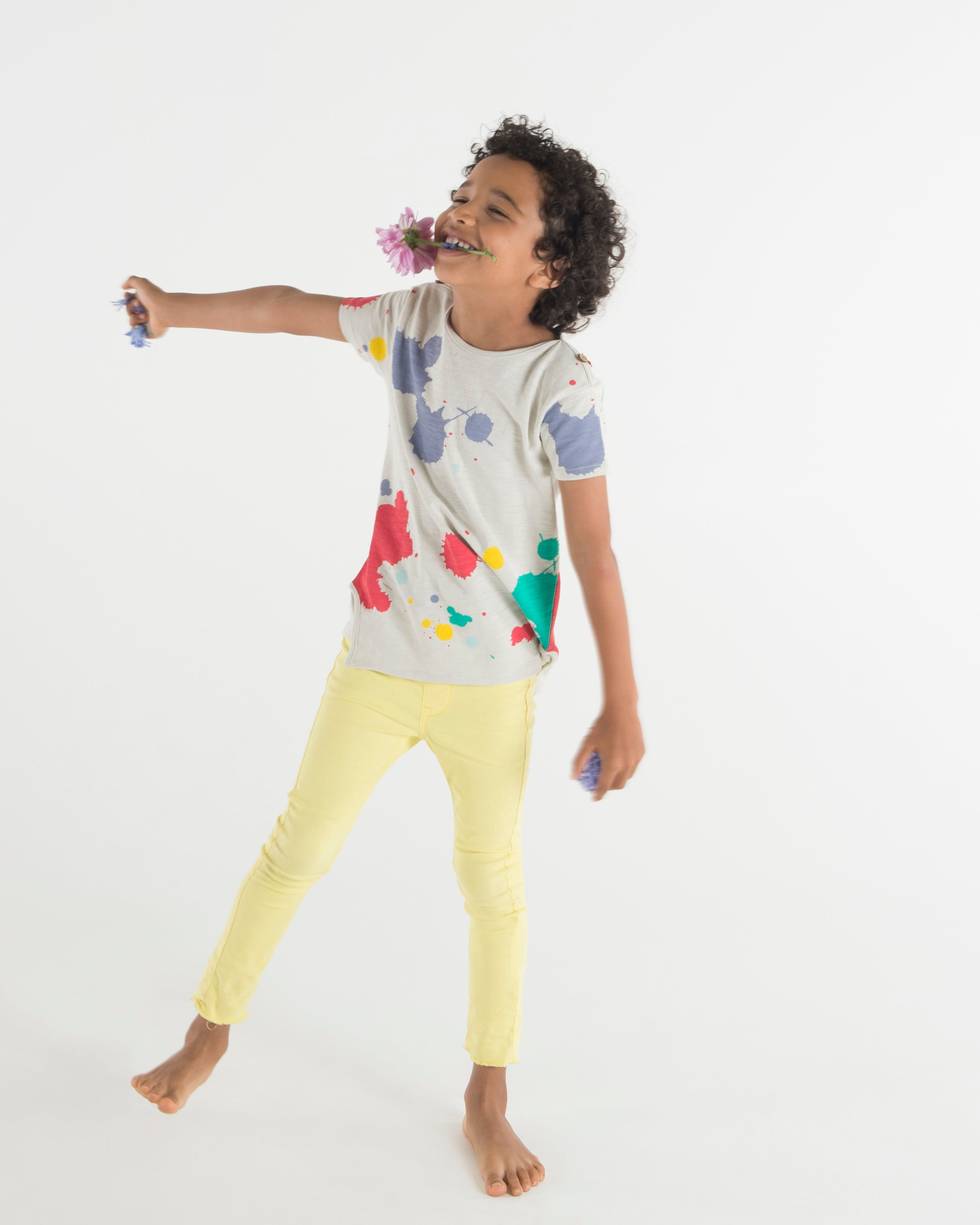 Teela Multi Colored Paint Splatter Boy's T-Shirt