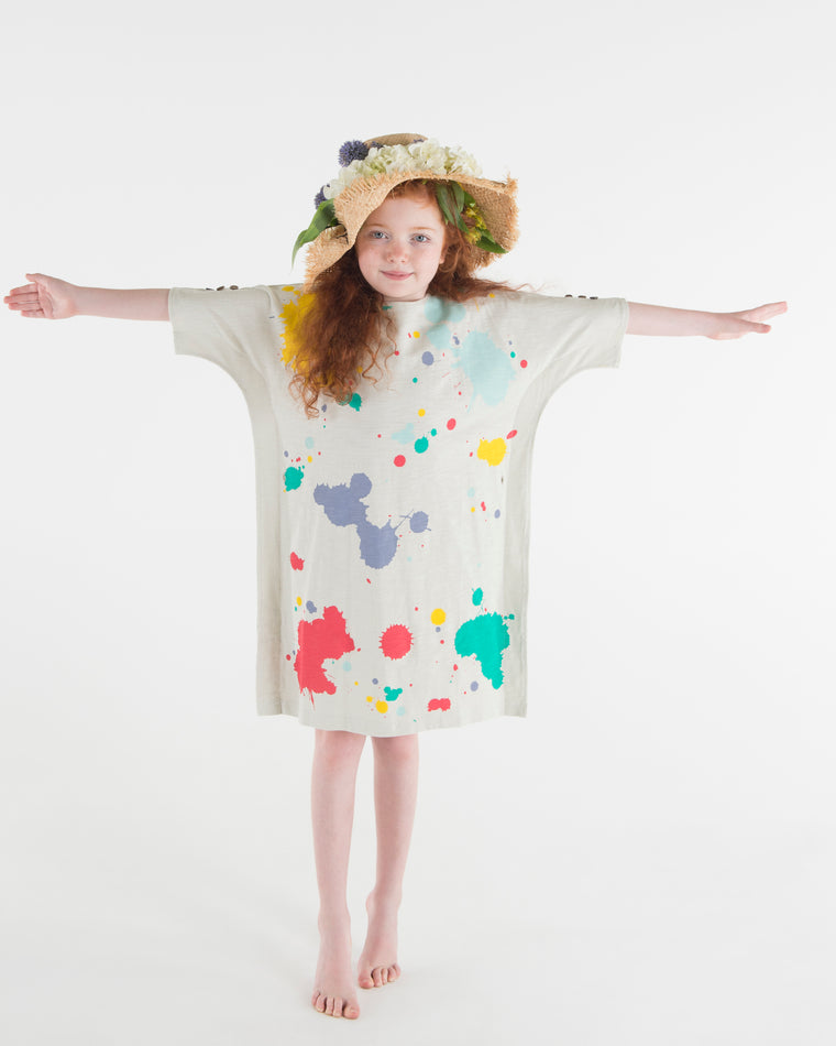 Teela Multi Colored Square Paint Splatter Dress