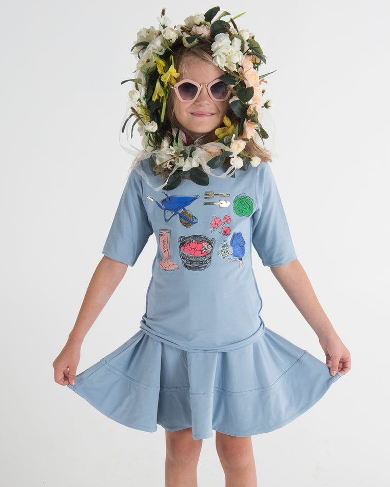 Teela Dusty Blue Gardening Girl's T-Shirt