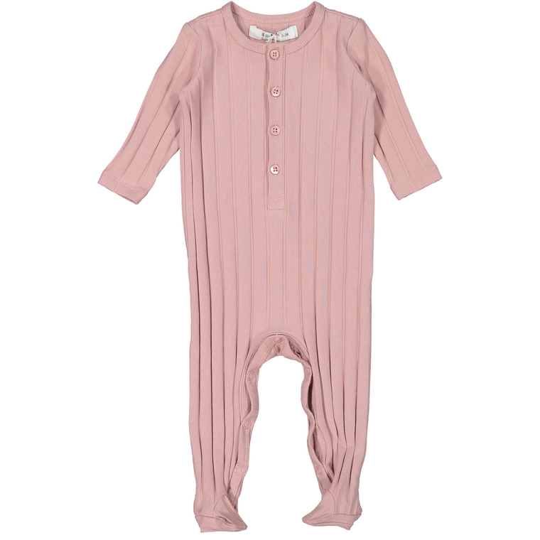 Coco Blanc Dusty Pink Ribbed Onesie
