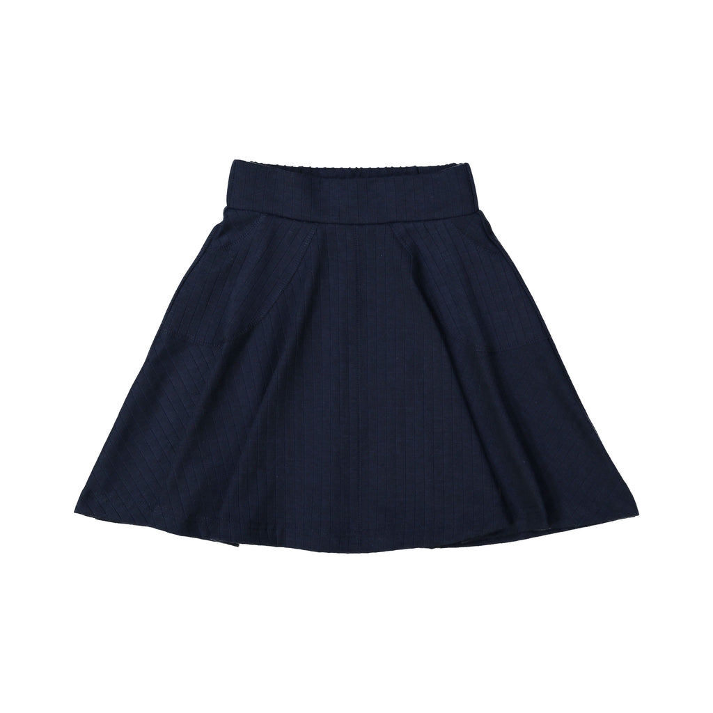 Teela Navy Blue Rib Circle Skirt