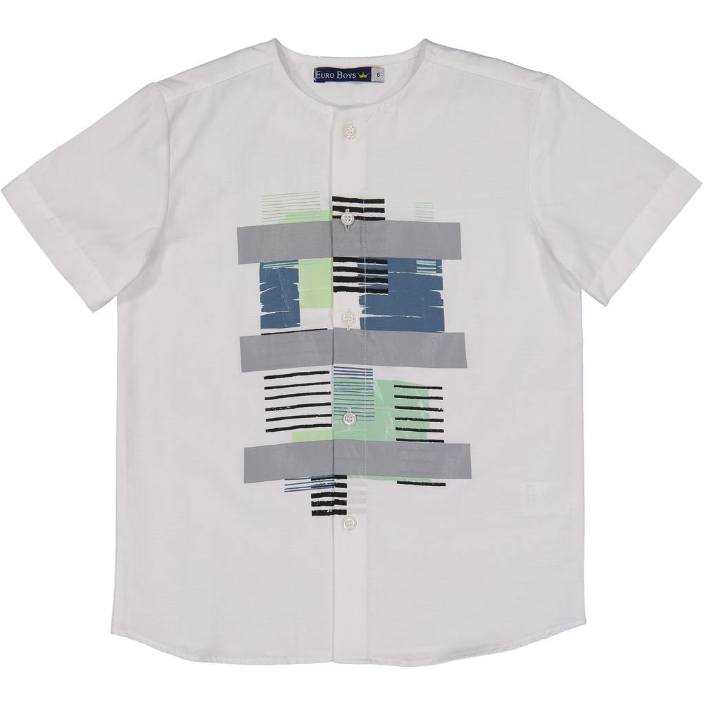 Euro Boys Grey/Indigo/Mint/Black Geometric Collarless Shirt