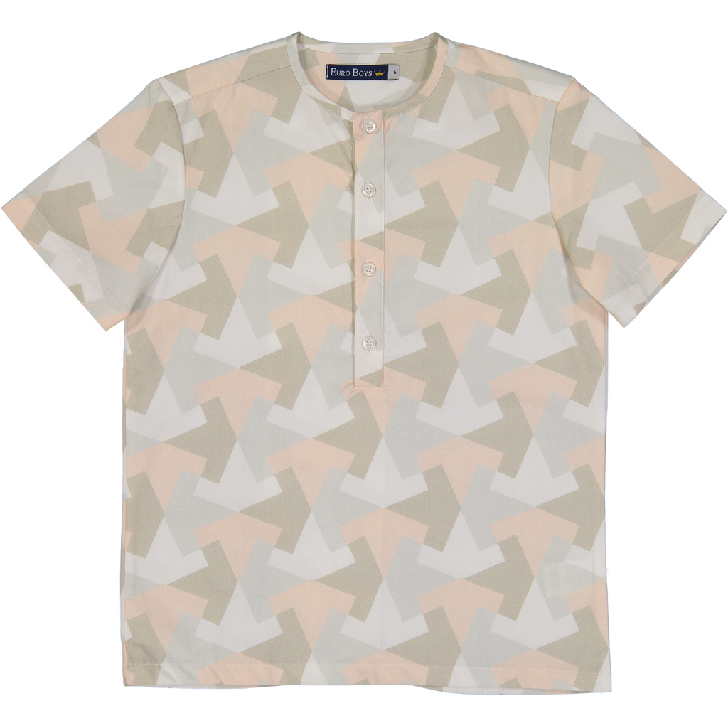 Euro Boys Blush/White/Mint Pattern Collarless Shirt