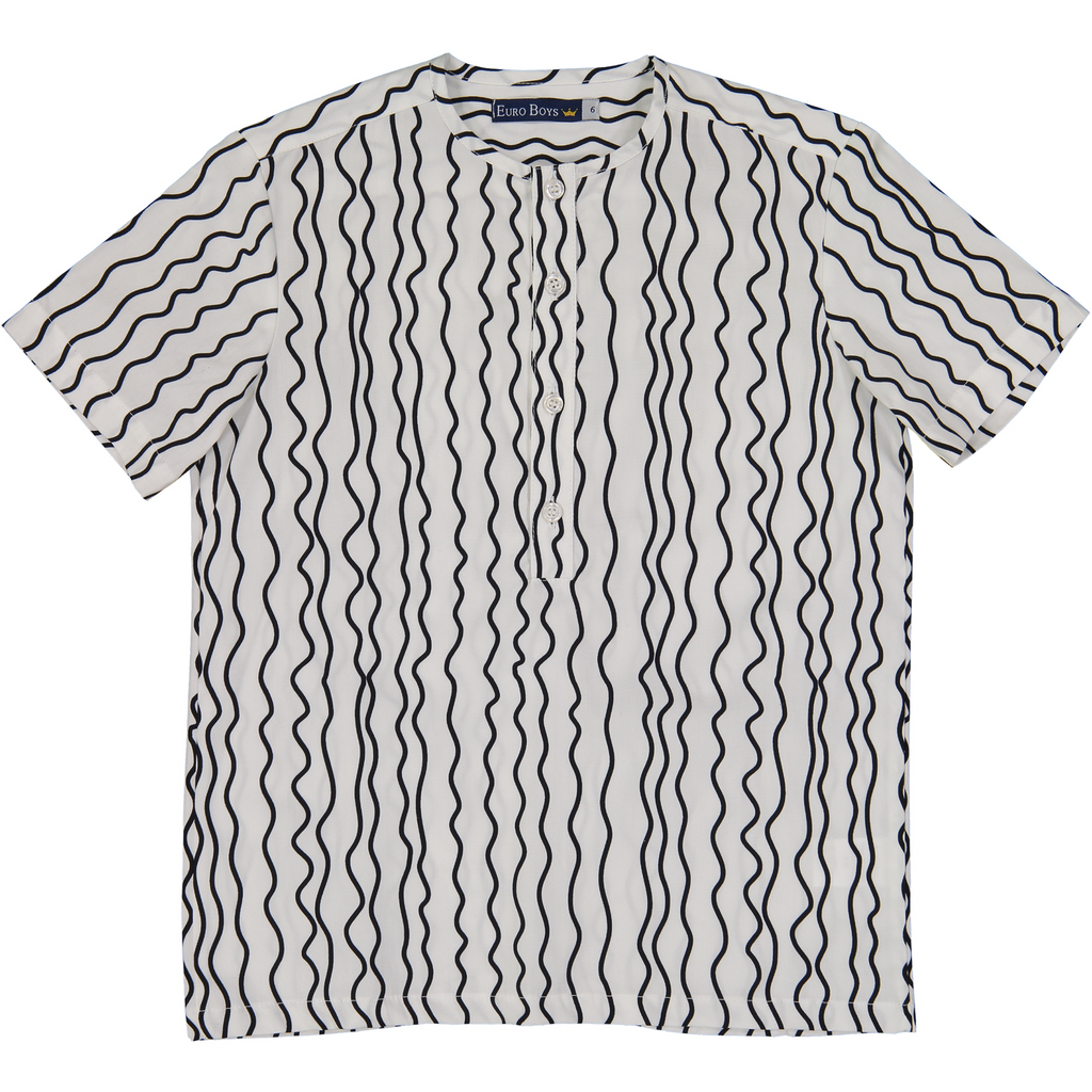 Euro Boys Black Squiggly Stripes Collarless Shirt