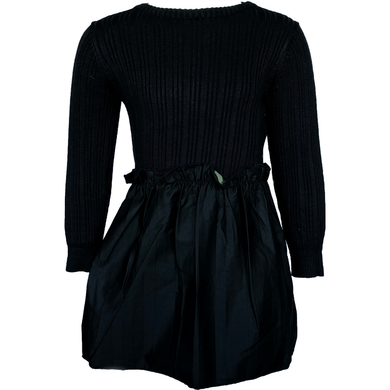 Euro Miss Black Ribbed Dress With Raincoat Bottom