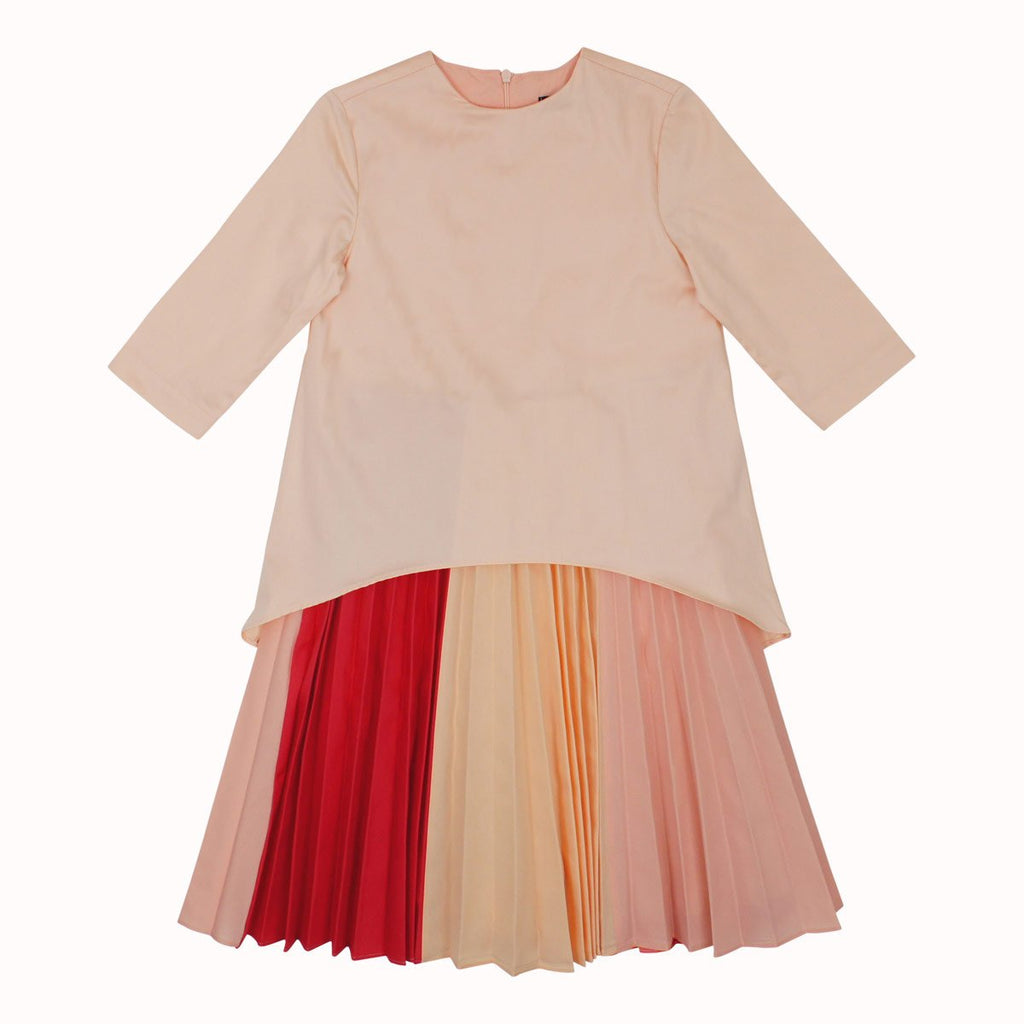 Euro Miss Peach High Low Pleated Dress