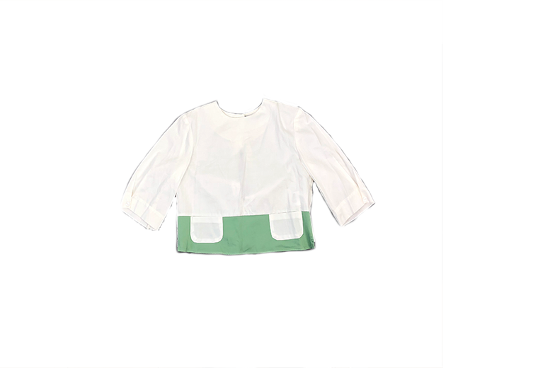 Euro Miss White/Green Pocket Blouse