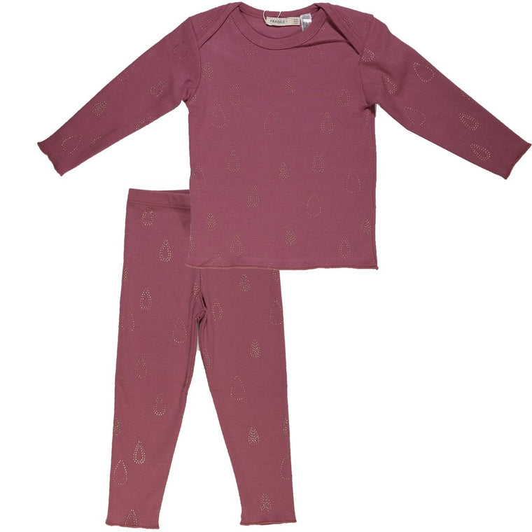 Fragile Berry Ribbed Tear Drop PJS