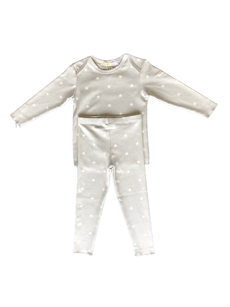 Fragile Grey Glitter Star Pajama Set