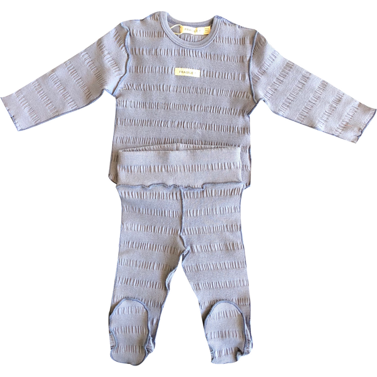 Fragile Lake Blue Lined Baby Set