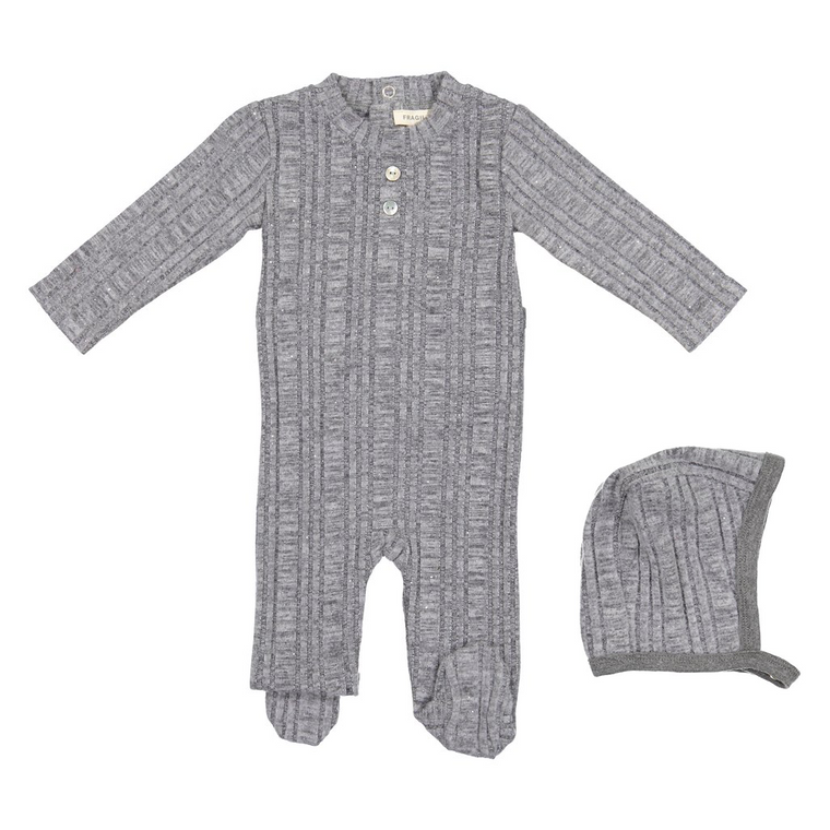 Fragile Light Grey Sparkle Rib Footie With Bonnet