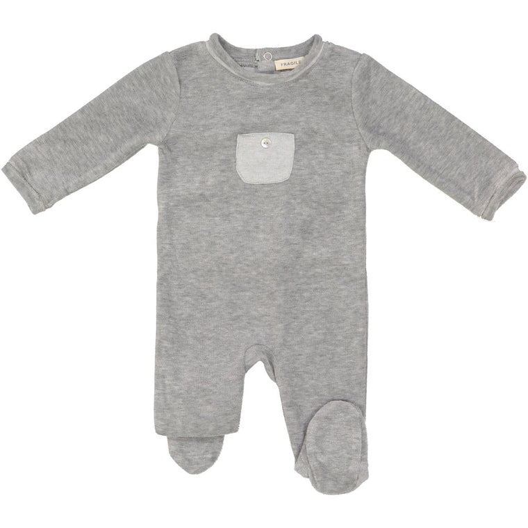 Fragile Light Grey Velour Pocket Footie