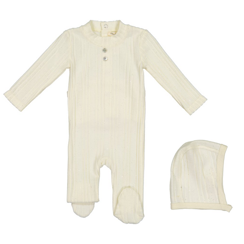 Fragile Light Off White Sparkle Rib Footie With Bonnet
