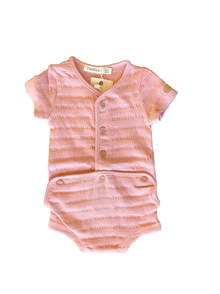 Fragile Pink Striped Ribbed Onesie