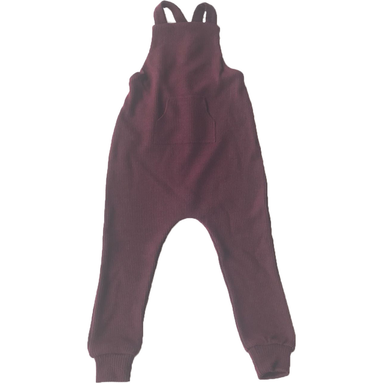 Fragile Wine Knit Overalls