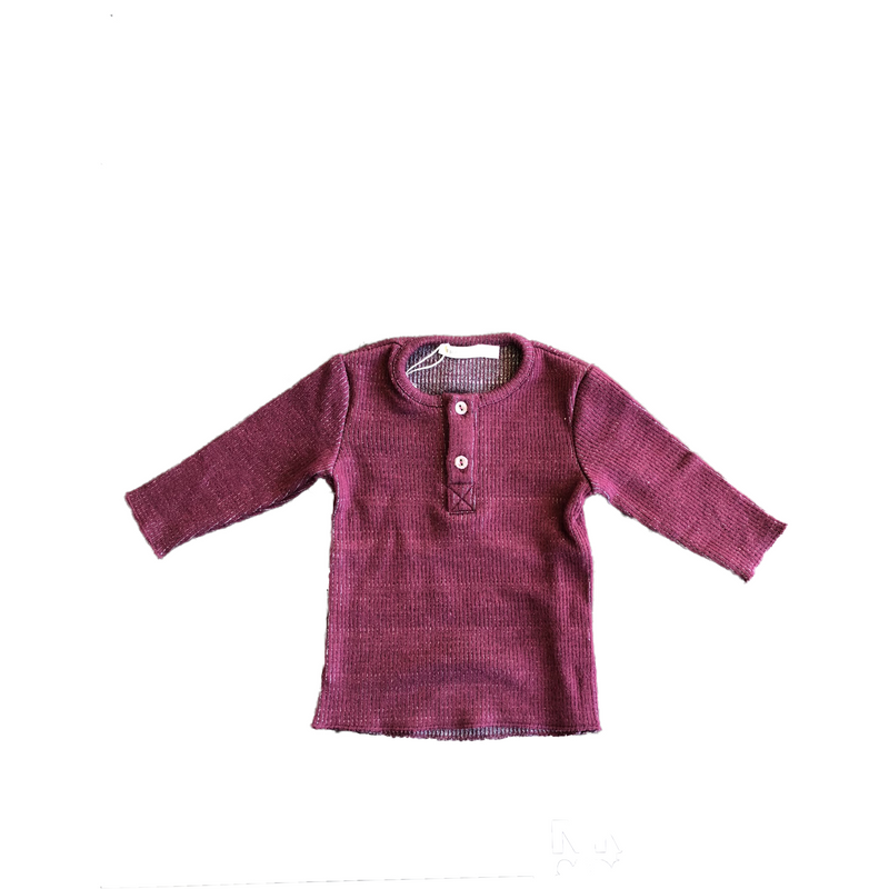 Fragile Wine Ribbed Henley