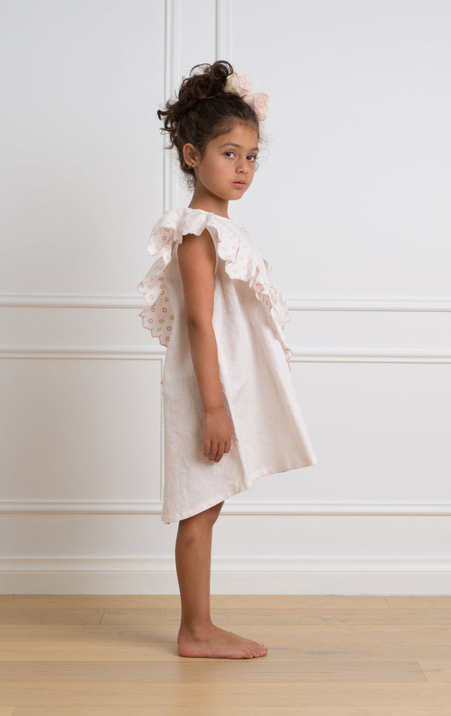 Petite Amalie Baby Pink Frilly Linen Dress