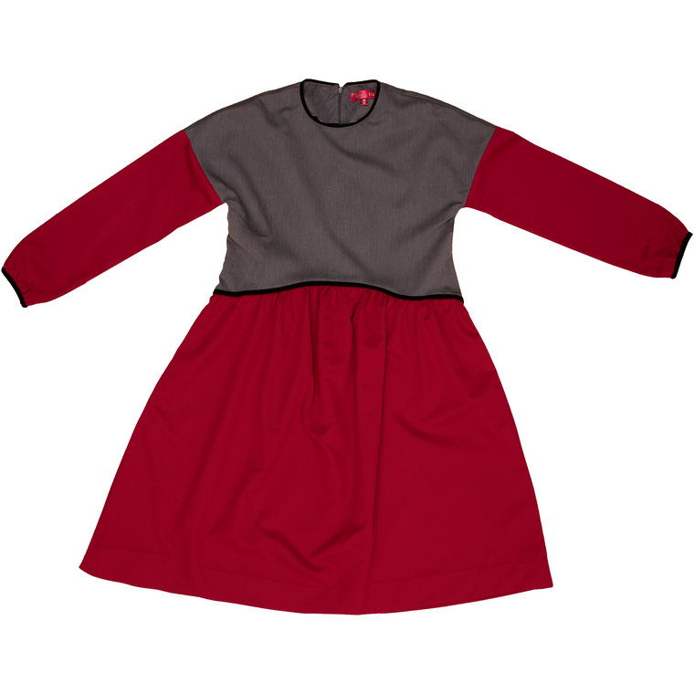 Gem Earth Red/Grey Shoulder Drop Dress