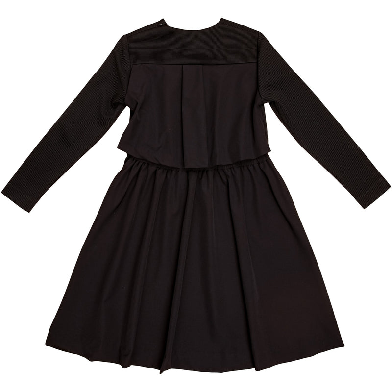 Gem Black Ribbed With Gathered Back Dress