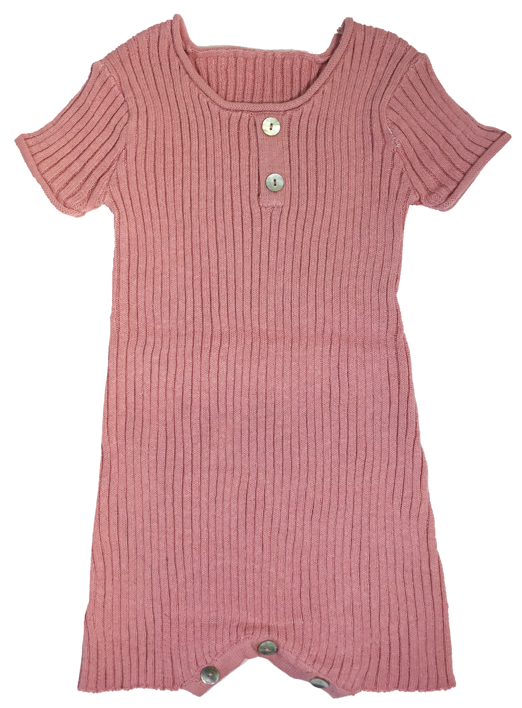 Kipp Baby Blush Ribbed Knit Short Romper