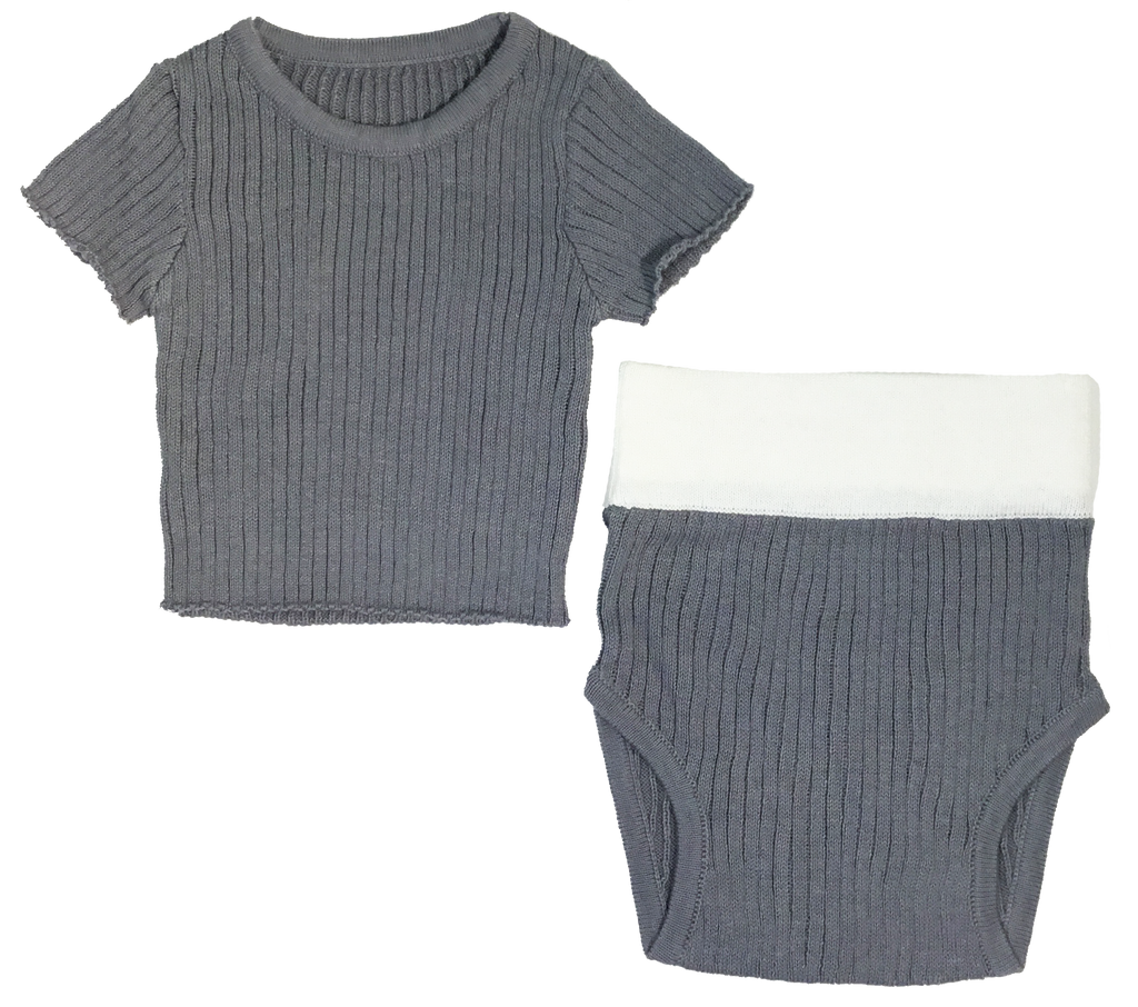 Kipp Baby Grey Ribbed Knit Set