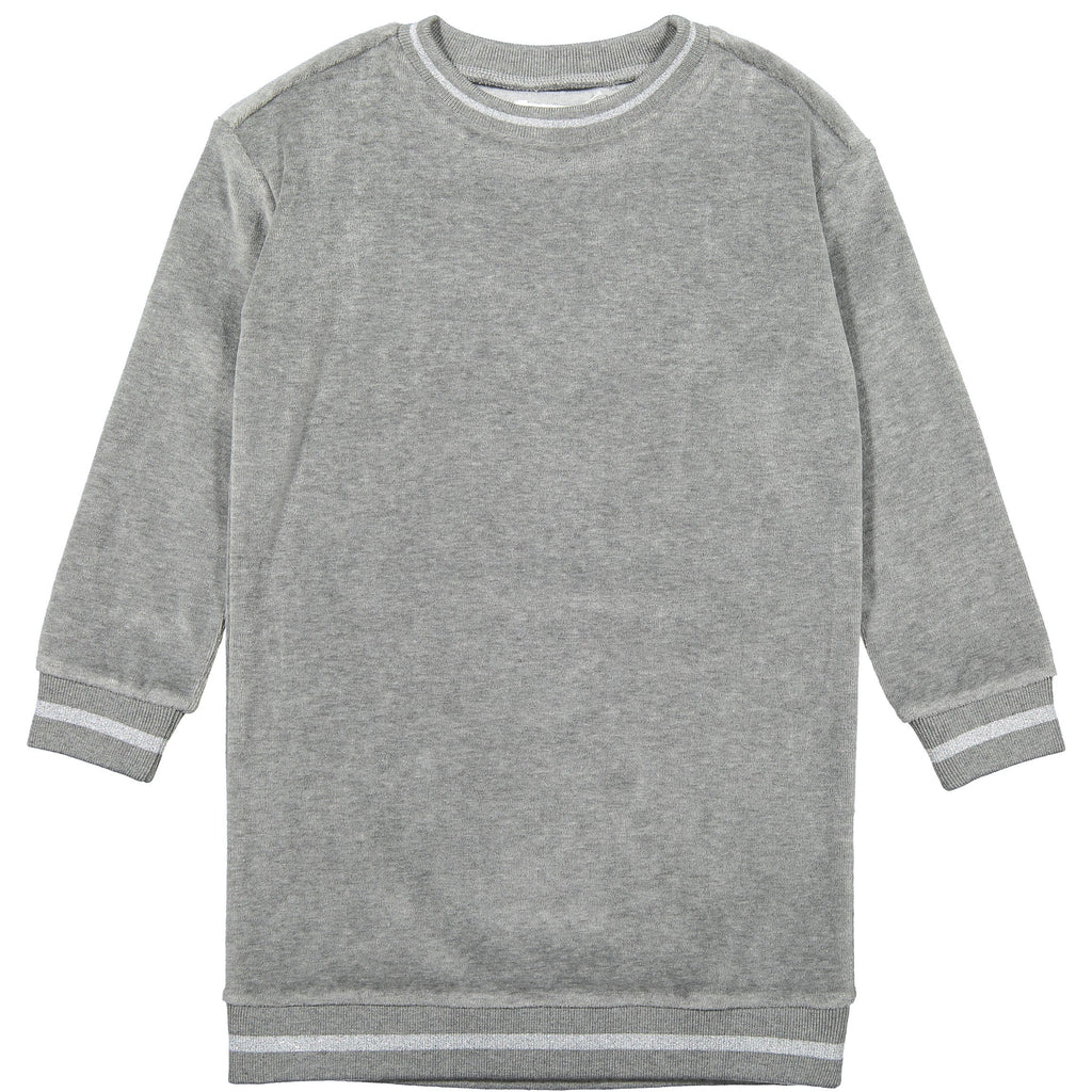 Coco Blanc Light Grey Velour Sweater Dress