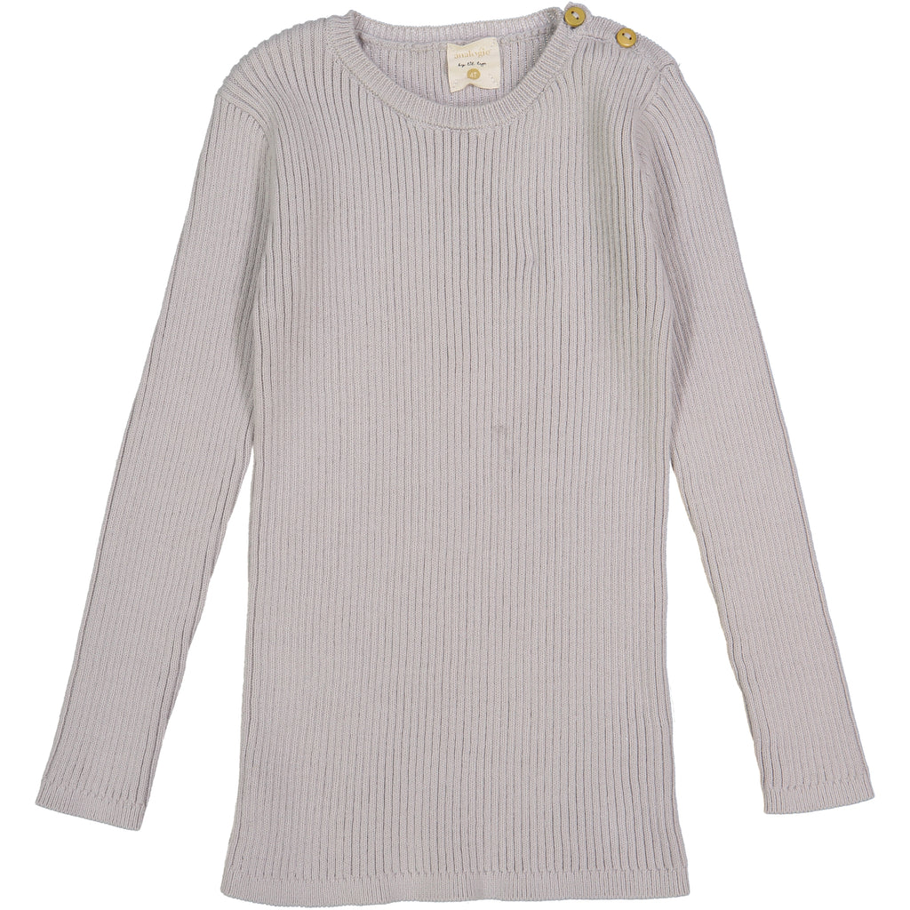 Analogie by Lil Leggs Grey Ribbed LS Shirt