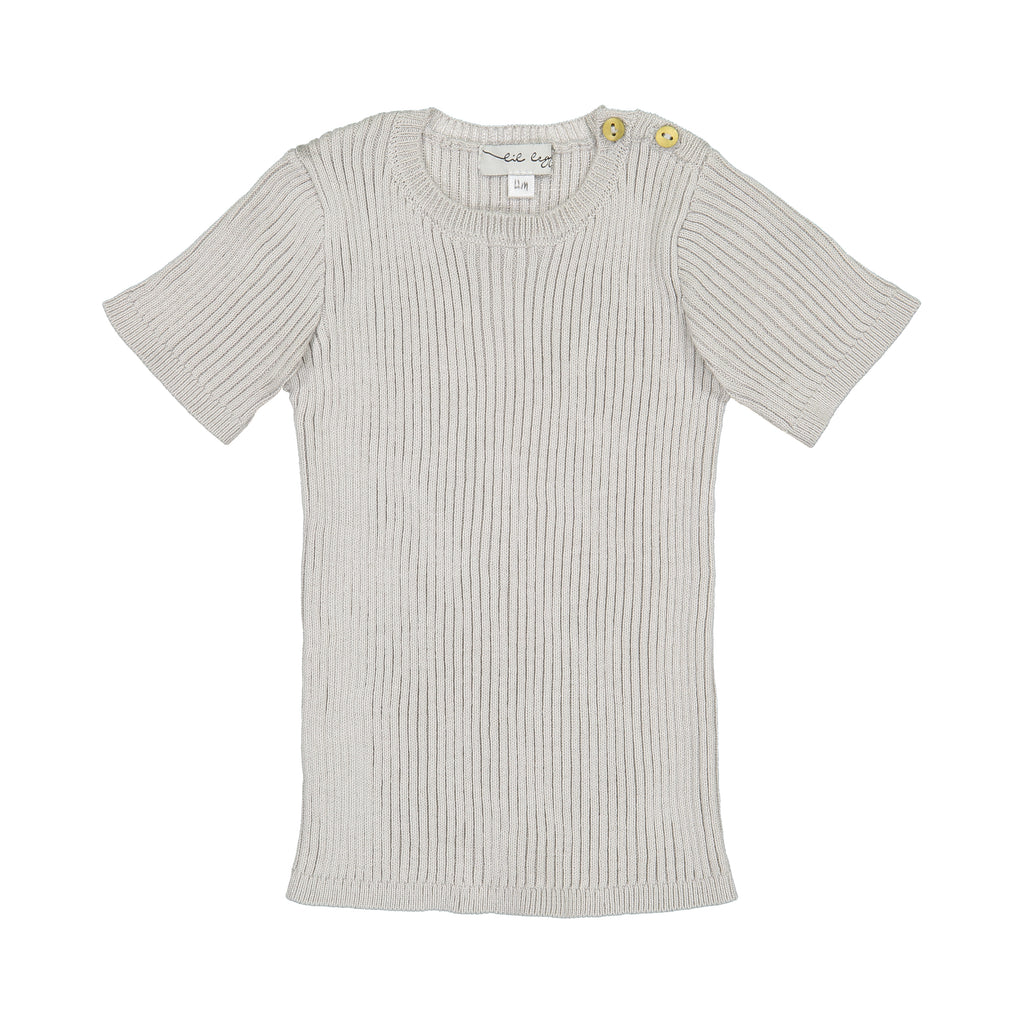 Analogie by Lil Leggs Grey Ribbed Knit SS Shirt