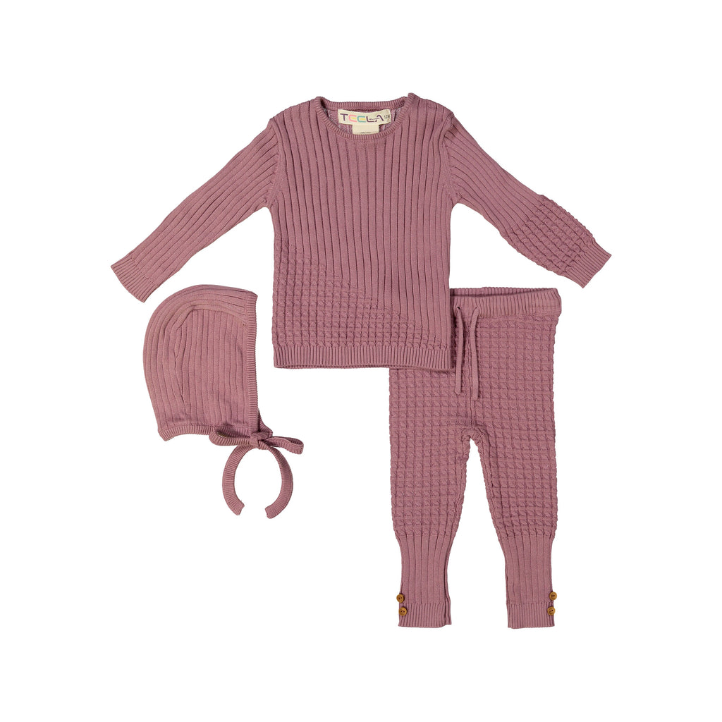 Teela Lilac Cable Knit 3 Piece Baby Set