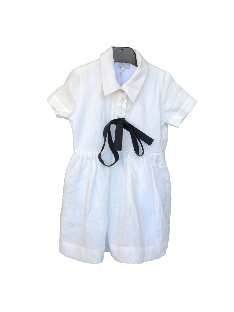 Hilda Henri White/Black Bow Shirt Dress