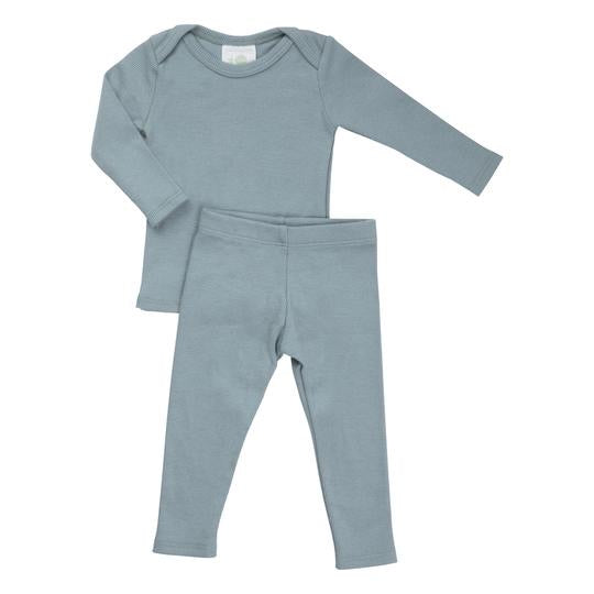 Petals & Peas Sea Blue Ribbed Lap Tee & Legging Set