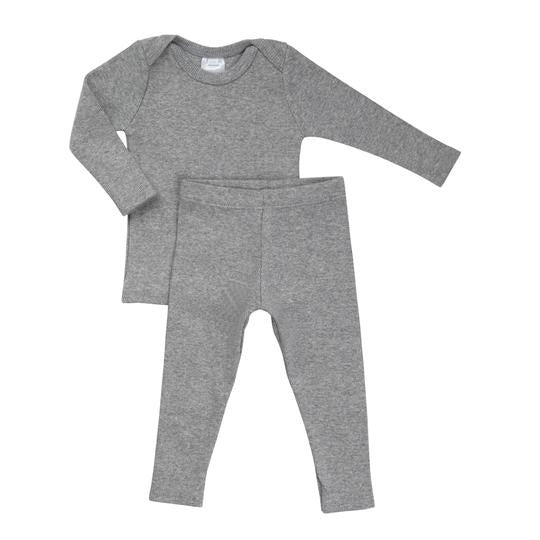 Petals & Peas Heather Grey Ribbed Lap Tee & Legging Set
