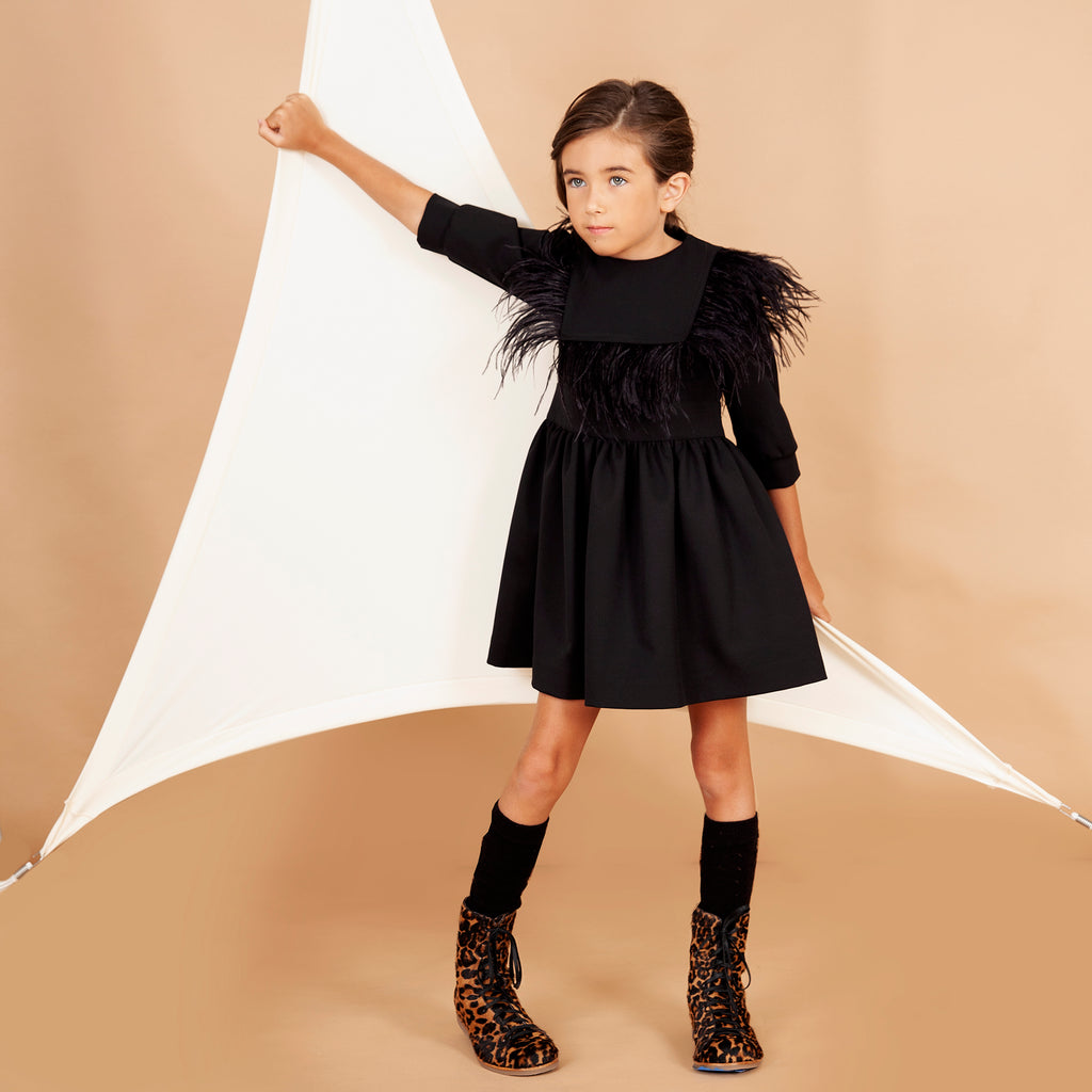 Nove Black Scuba Feather Bib Dress