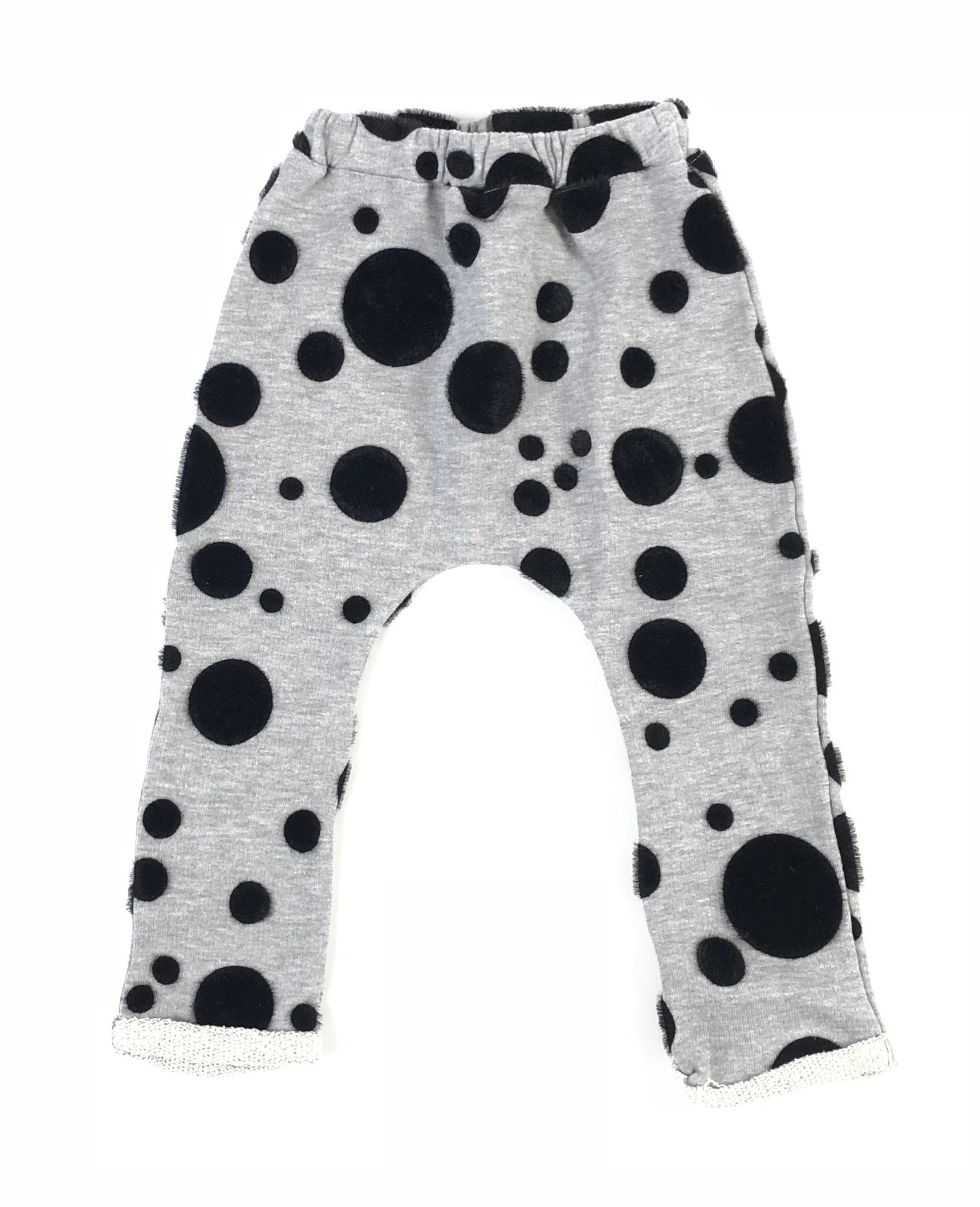 Latte E Biscotti Black/Grey Furry Spotted Pants