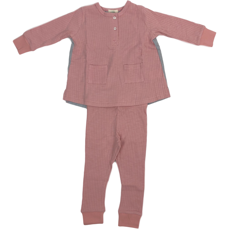 Tugg Blush Ribbed Pajama Set