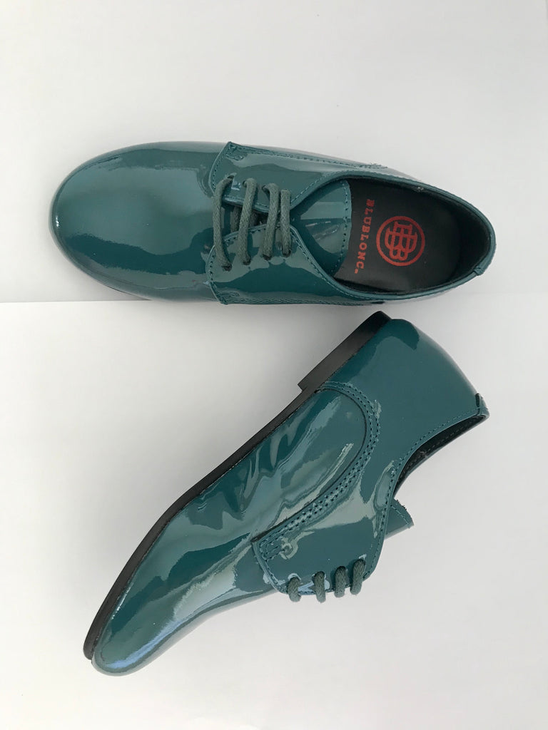 Blublonc Sella Teal Patent Leather Oxford Boy Shoe
