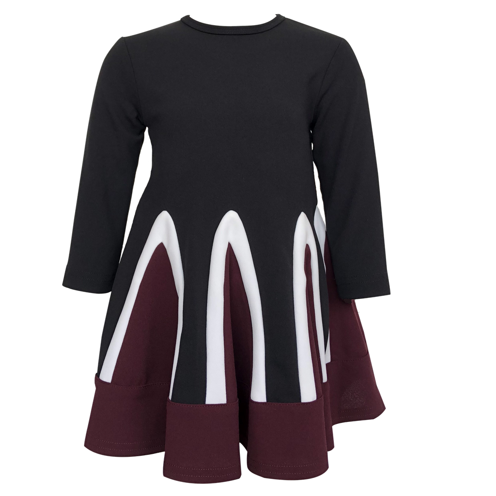 Slice Black/White/Burgundy Dress